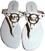 Michael Kors Mackenzie White Saffiano Leather Thong Sandal Flat Shoe 6 - $52.00
