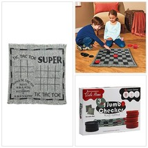 Giant Checkers Tic Tac Toe Floor Game for Family Fun Rug Checkers Set New - $17.77