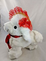 "White Dog Plush Red Lace Yellow Hat 12"" Vintage Stuffed Animal toy - $19.95"