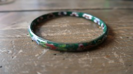 "Antique Vintage Green Chinese Cloisonne Bangle Bracelet 2.75"" inner diam... - $23.75"
