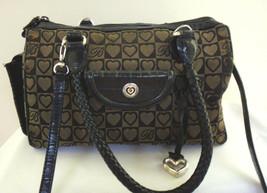 BRIGHTON Satchel Handbag Braided Double Handles Leather Trim Black & Tau... - $47.03