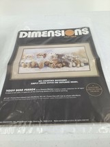VTG Dimensions Cross Stitch Kit Teddy Bear Parade 1986 No Count Open Package - $8.59