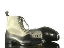 Handmade Men Black Gray Leather Suede Brogue Toe Lace Up Boots,Men Desig... - $159.99+
