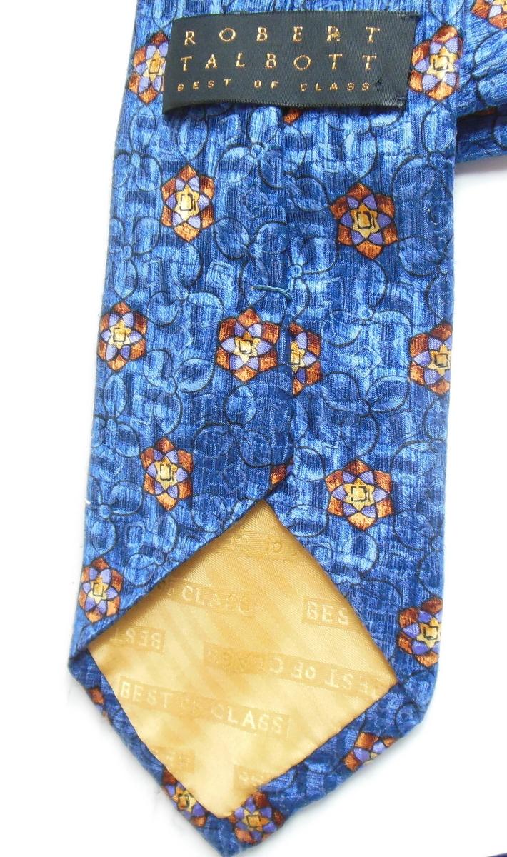 Robert Talbott 57 Inch Silk Mens Neck Tie Royal Blue Flowers Shiny Material