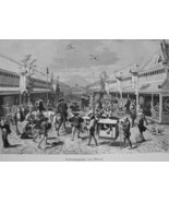 JAPAN Silk Sellers Shops at Mitsoni  - 1882 Wood Engraving - $19.80