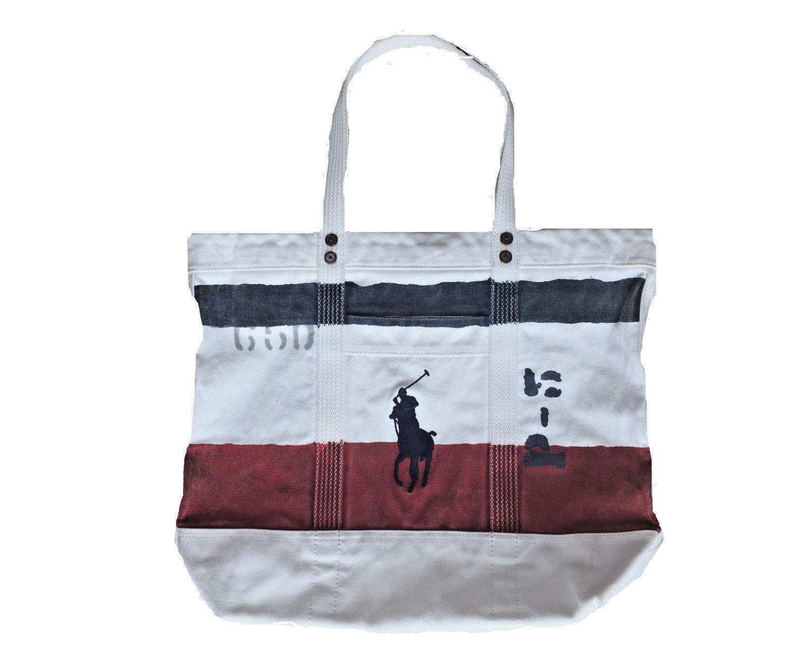 e7e97b1d76 Polo Ralph Lauren Big Pony Canvas Multi-colored Striped Zippered Tote Bag -  £55.92 GBP