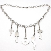 925 Silver Necklace Oval Chain, Key, Lock, Horn, Sword Pendants image 1