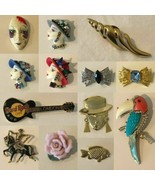 Vintage Pin Brooch Choice of Design Lady Head Face Hard Rock Cafe Fish S... - $4.99+