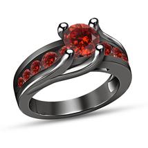 Round Red Garnet Luxury Engagement Wedding Ring 14K Black Gold Finish 925 Silver - $76.98