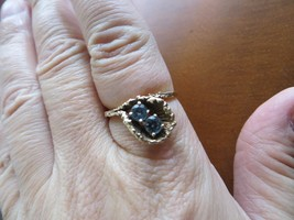 Antique Victorian 10K Yellow Gold Floral Ring w/Light Blue Glass Stone. ... - £75.75 GBP