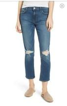 NWT Current/Elliott High Waist CROP Straight Jeans Joey Dark Destroy SZ ... - $49.49