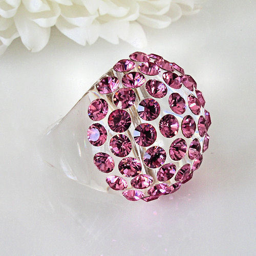 New Clear Acrylic Domed Ring Made With Pink Swarovski Elements Crystals On Dome image 6