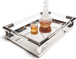 Tray DECO Polished Nickel Glass Stainless Steel New GH-926 - $509.00