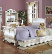 Acme 01010T Youth Pearl White Gold Accent Twin Sleigh Trundle Bed