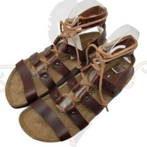 Papillio Birkenstock Women's Brown Lace Up Gladiator Flat Sandals Sz 37 - $125.00