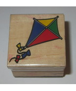 Kite Rubber Stamp Flying Wind Kids Bows Wood Mounted #2 - $2.90