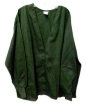 Hunter Green Scrub Jacket L V Neck Scrubs Medline Warm Up Jacket Snap Fr... - $21.31