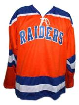 Brian Perry #19 New York Raiders Custom Retro Hockey Jersey New Orange Any Size image 3