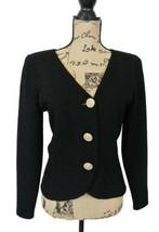 ST JOHN Marie Gray Short Black Santana Knit Blazer Jacket Big Crystal Buttons - $129.99