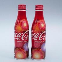 Hanabi 2018 Coca Cola Aluminum Full 250ml 2 Slim bottle Japan Brand New!! - $32.67