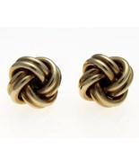 Vintage 9 Carat Gold Coiled Knot Stud Earrings 11 mm Diameter. - $117.83