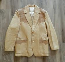 Vtg Scully Western Leather Jacket Blazer Size 46 Caramel Tan Alligator A... - $188.09