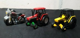 Maisto Farm Tractor Lot of 2 Red Yellow Harley Davidson Motorcycle Die C... - $1.99