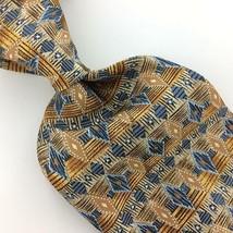 WEMBLEY USA TIE GEOMETRIC Diamond GOLD BROWN STEEL Silk Necktie EUC Ties... - $15.83