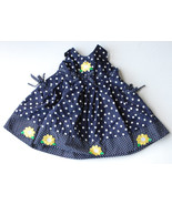 Blueberi Boulevard Baby Girl 12 Month Navy Blue Polka Dot Dress w/ pockets - $7.00