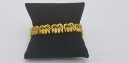 Vintage Gold Tone India Elephants Inspired Linked Bracelet With Clasp - $19.32