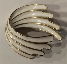 Vintage Torino Gold Tone White Enamel Brooch Pin - VG Excellent Condition  - $9.45