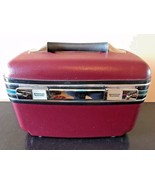 Vintage American Tourister Burgundy Teal Stripe Train Case w Mirror Tray... - $39.95