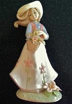 Annie Rowe Spring Bouquet Girl Figure Leonardo Collect'n Nib Like Lladro England - $69.29