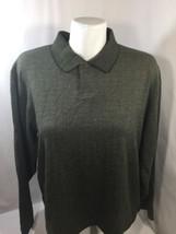 Van Heusen Men Olive Green Shirt Button Down Long Sleeve Polyester Soft ... - $15.88