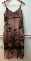 Adrianna Papell Evening Dress Blush Brown Silk with Embellished Black Flowers 10 - $25.95
