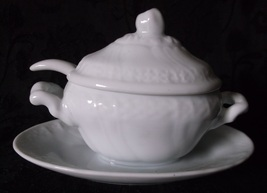 Vintage Miniature Ironstone Covered Soup Tureen Ladle Jam Mustard Jar St... - $19.98