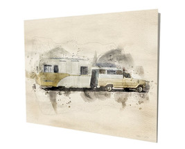Old Truck and Camper Beige RV Trailer Art Design 16x20 Aluminum Wall Art - $59.35