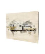 Old Truck and Camper Beige RV Trailer Art Design 16x20 Aluminum Wall Art - $59.35