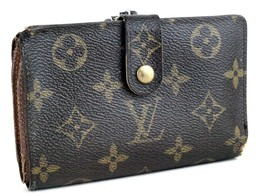 Auth Louis Vuitton Monogram Canvas Leather Bifold Wallet Kissing Lock Coin Purse - $117.81