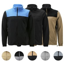 Men's Full Zip-Up Two Tone Solid Warm Polar Fleece Soft Collared Sweater Jacket image 1