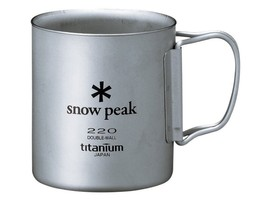 Snow Peak Titanium Double Wall Cup 220 ml with Folding Handle MG-051FHR - $78.19 CAD