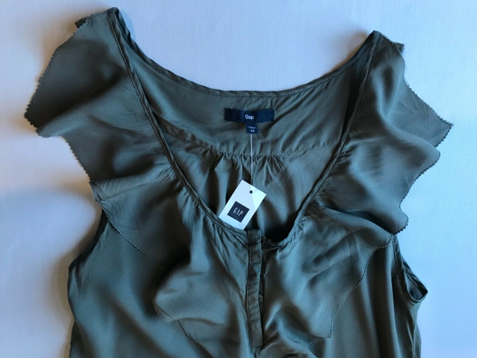 Primary image for Tank Top Blouse in Gray w/ Flutter trim along Neckline in size M by the Gap