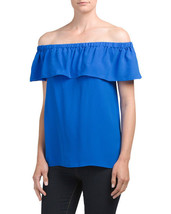 Rose + Olive Off the Shoulder Ruffle Sleeve Top Size Large Blue Casual W... - $9.75