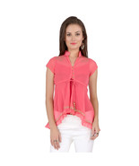 Ira Soleil pink block printed poly chiffon cap sleeve womens top - $49.99