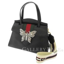 GUCCI Totem Medium Leather Black Butterfly 2Way Handbag 505342 Italy Aut... - $2,130.97