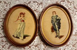 "Blue Boy & Pinkie Vintage Embroidered Oval Frames 10"" x 8"" - $25.00"