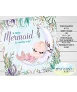 "Under the Sea Mermaid Baby Shower Backdrop, 48"" x 48"" Digital Backdrop - $19.95"