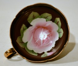 Hand Painted Black Rose Tea Cup Gold Trim Made in Japan Cup Only - $5.45