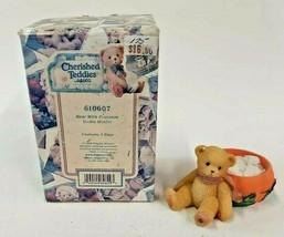 Cherished Teddies Bear With Pumpkin Votive Holder 1998 Enesco Figurine 6... - $9.85