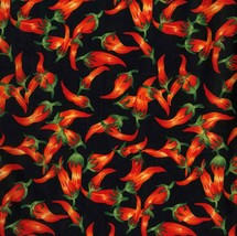 Red Chili Peppers Tossed-Black B/G-BTY-David Textiles-Hot-Hot-Hot - $7.95